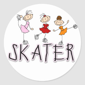 Stick Figure Skater Tshirts and Gifts Round Sticker