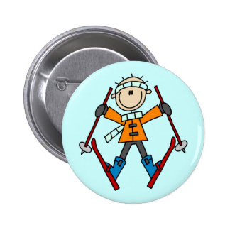 Stick Figure Skier T-shirts and Gifts 6 Cm Round Badge