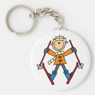 Stick Figure Skier T-shirts and Gifts Basic Round Button Key Ring