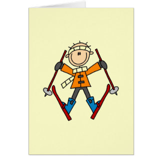 Stick Figure Skier T-shirts and Gifts Greeting Card