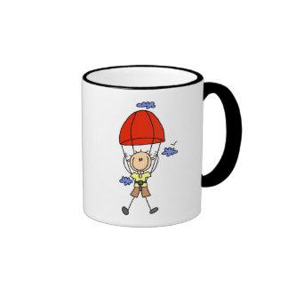 Stick Figure Sky Diver Tshirts and Gifts Ringer Mug