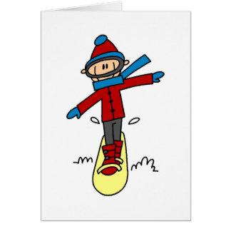 Stick Figure Snowboarding Card