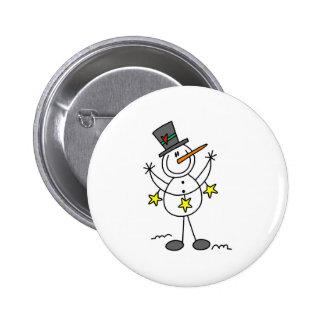 Stick Figure Snowman Button