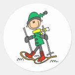 Stick Figure Snowshoeing Round Sticker