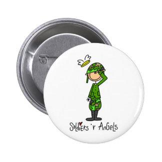 Stick Figure Soldier Man Button