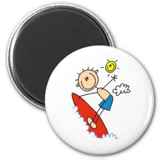 Stick Figure Surfer Boy Button Fridge Magnet