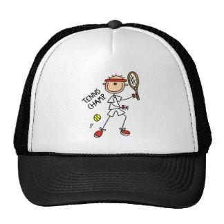 Stick Figure Tennis Champ Men Baseball Cap Trucker Hats