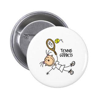 Stick Figure Tennis Goddess Button
