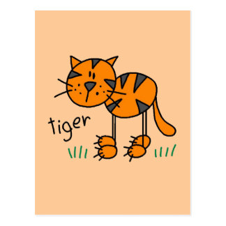 Stick Figure Tiger T-shirts and Gifts Postcard