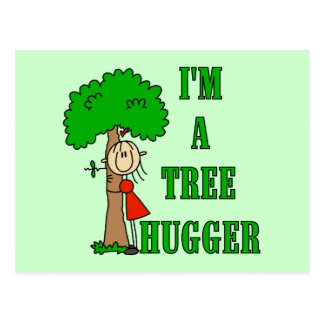 Stick Figure Tree Hugger T-shirts and Gifts Postcard