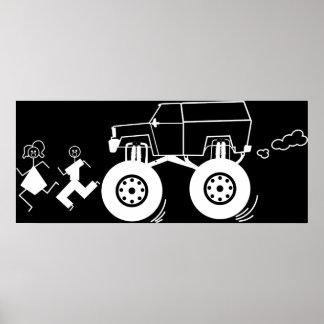 Stick Figure Trucking Print