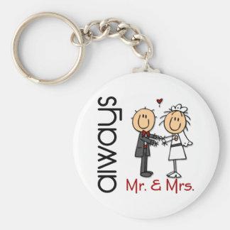 Stick Figure Wedding Couple Mr. & Mrs. Always Key Ring