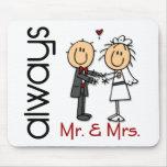 Stick Figure Wedding Couple Mr. & Mrs. Always Mousemat
