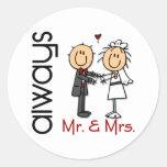 Stick Figure Wedding Couple Mr. & Mrs. Always Round Sticker