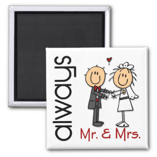 Stick Figure Wedding Couple Mr. & Mrs. Always Square Magnet