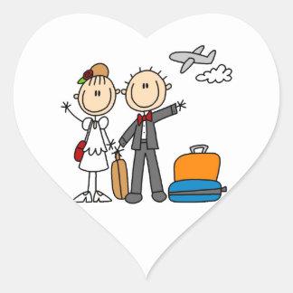 Stick Figure Wedding Honeymoon T-shirts and Gifts Heart Sticker