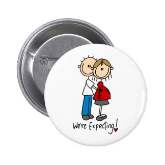 Stick Figure We're Expecting 6 Cm Round Badge
