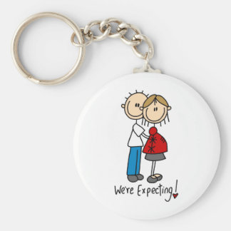 Stick Figure We're Expecting Key Ring