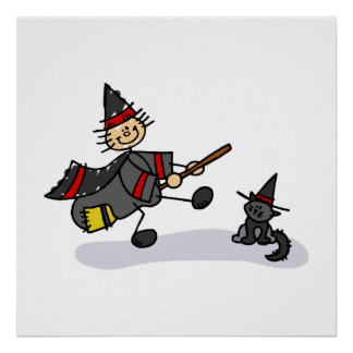 Stick Figure Witch with Cute Cat Poster