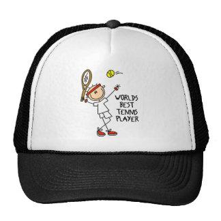 Stick Figure Worlds Best Tennis Player Men Basebal Hat