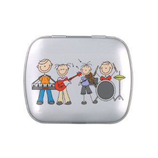 Stick Figures Band Tins and Jars w. Candy Jelly Belly Tin