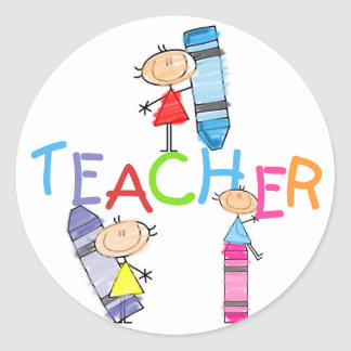 Stick Figures Crayons Teacher Tshirts and Gifts Round Sticker