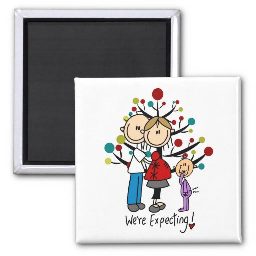 Stick Figures Expectant Parents Girl Magnets