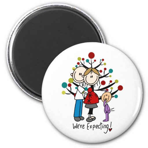 Stick Figures Expectant Parents Girl Fridge Magnets
