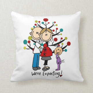 Stick Figures Expectant Parents Girl Throw Cushion