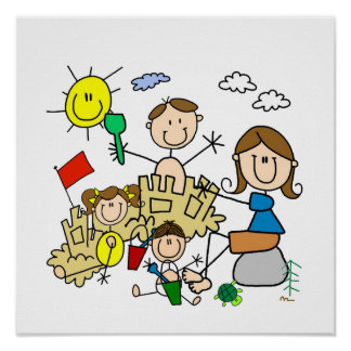 Stick Figures Family Beach Fun Poster