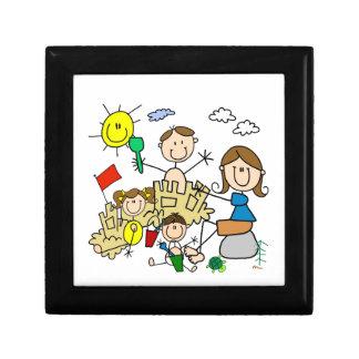 Stick Figures Family Beach Fun Small Square Gift Box