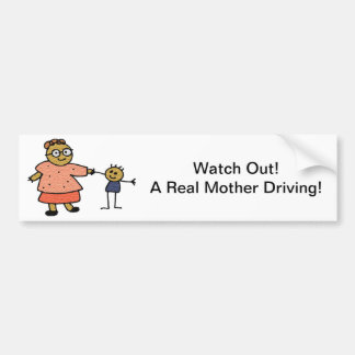 Stick Figures of Mother and Child for Mother's Day Bumper Sticker