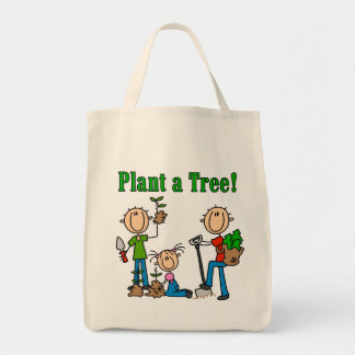 Stick  Figures Plant a Tree T-shirts and Gifts Canvas Bags