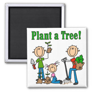 Stick Figures Plant a Tree T-shirts and Gifts Fridge Magnets
