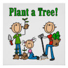 Stick Figures Plant a Tree Tshirts and Gifts Poster