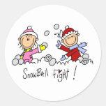 Stick Figures Snowball Fight Round Sticker