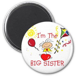 Stick Fiigure Big Sister Girl 6 Cm Round Magnet