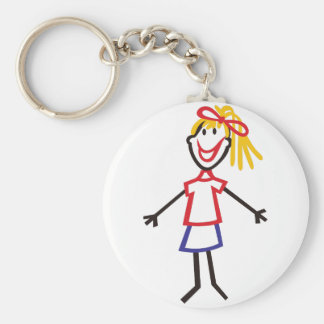 Stick Girl Basic Round Button Key Ring