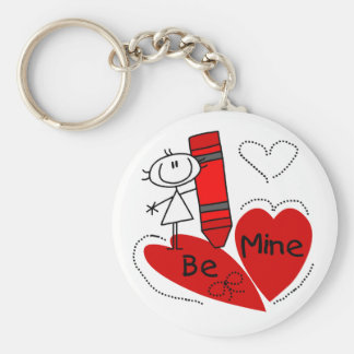 Stick Girl Be Mine Valentine Keychain