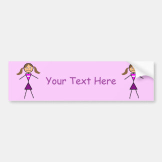 Stick Girl Brunette Car Bumper Sticker