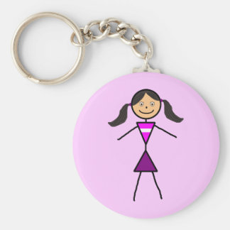 Stick Girl Dark Brunette Basic Round Button Key Ring