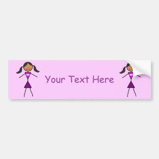 Stick Girl Dark Brunette Car Bumper Sticker