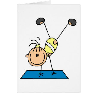 Stick Girl Doing Flips Tshirts and Gifts Greeting Card