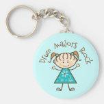 Stick Girl Drum Majors Rock Gift Basic Round Button Key Ring