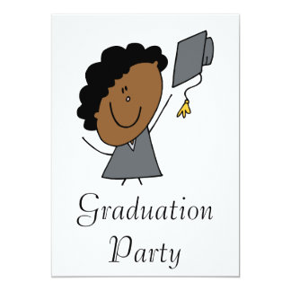 Stick Girl Grad 13 Cm X 18 Cm Invitation Card
