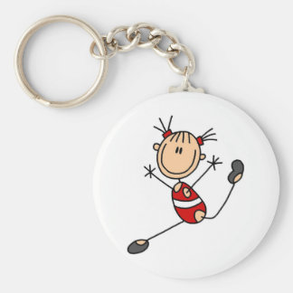 Stick Girl Gymnast Tshirts and Gifts Basic Round Button Key Ring