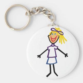 Stick Girl Basic Round Button Key Ring