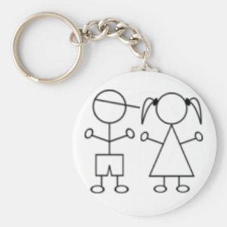 Stick Girl keychain twin boy girl