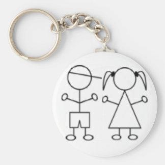 Stick Girl keychain twin boy girl