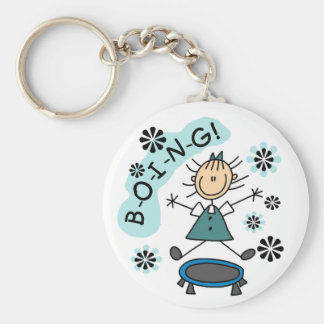 Stick Girl on Trampoline Basic Round Button Key Ring